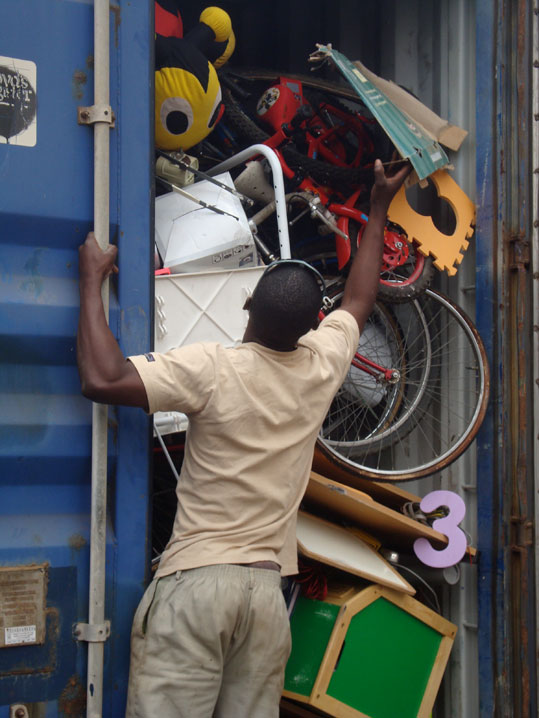 Carefully unloading the container