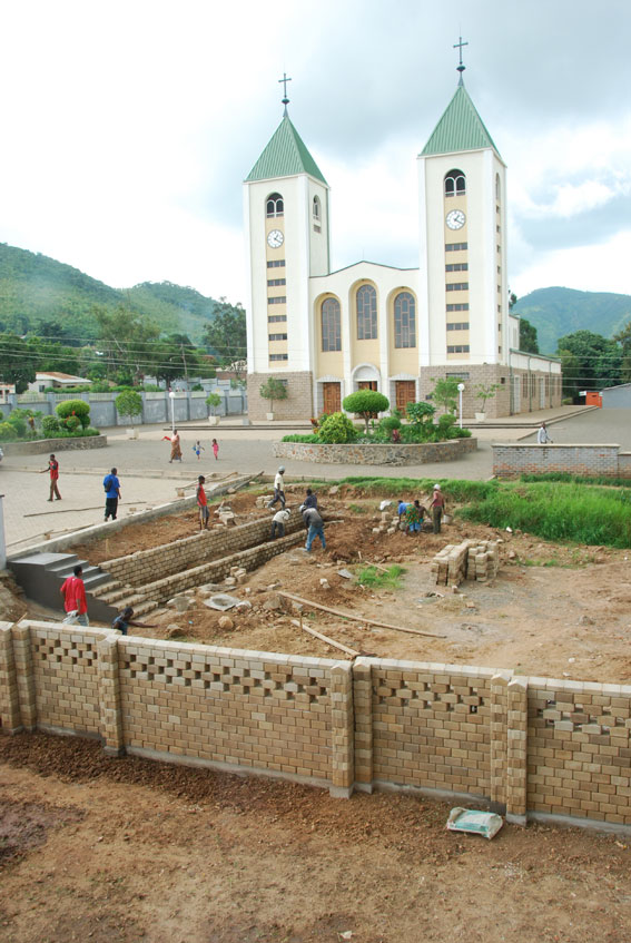 Getting ready to build outside the Church