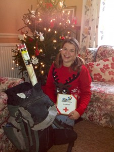 "Debbie packs her ""Survival Kit"", we're hoping she's also packing that beautiful Christmas jumper!"