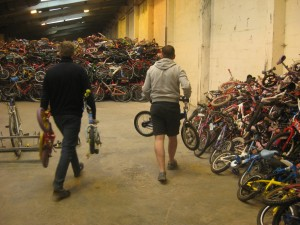 Adding bikes to the pile ready for Malawi